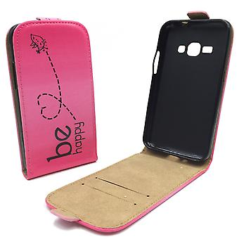 Mobile phone case pouch for mobile Samsung Galaxy J1 2016 be happy pink