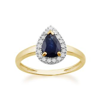 9ct Yellow Gold 0.77ct Natural Sapphire & Diamond Pear Cluster Ring