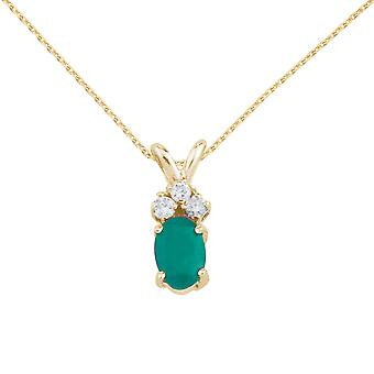 14K Yellow Gold Oval Emerald Pendant with Diamonds and 18