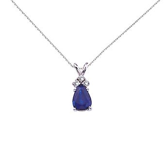 14K White Gold Pear Shaped Sapphire and .05 ct Diamond Pendant and 18