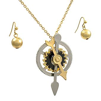 Tri-Color Steampunk Gears And Cogs Necklace / Earrings Set