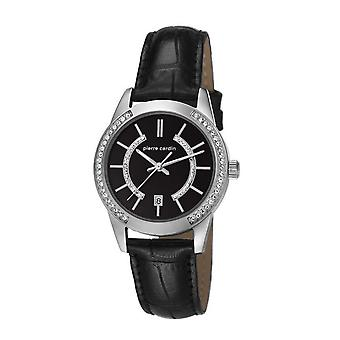 Pierre Cardin ladies watch wristwatch TROCA LADY BLACK LEDER PC106582F02