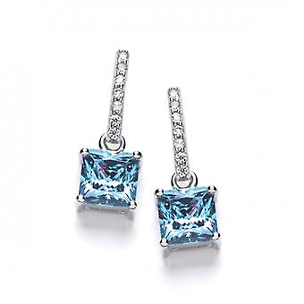 Cavendish French Delicate Square Ble Topaz CZ Solitaire Earrings