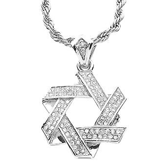 Iced out bling MINI chain - star of David Silver