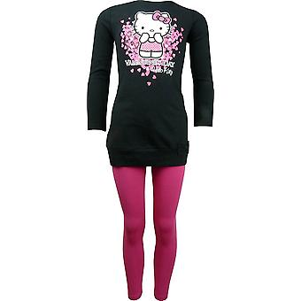 Mädchen Hello Kitty Langarm Tunika Top & Leggings Set HO1149