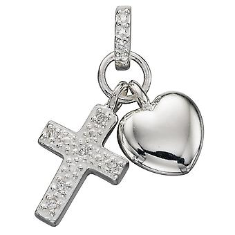 925 Silver Fashionable Cross And Heart Necklace