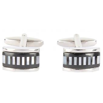 David Van Hagen Mother of Pearl and Onyx Stripe Cufflinks - Silver/Black