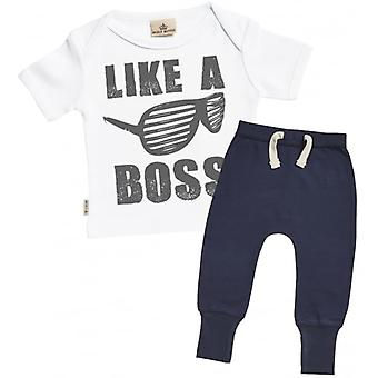 Viziati marcio come un Boss t-Shirt & Navy Joggers Outfit Set