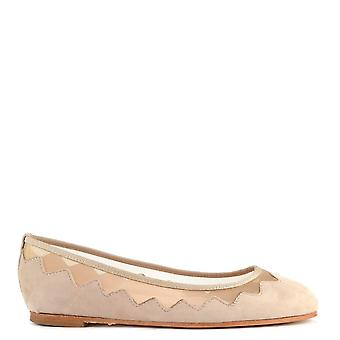 Elia B Shoes Sabine Beige Suede And Mesh Ballet Flat