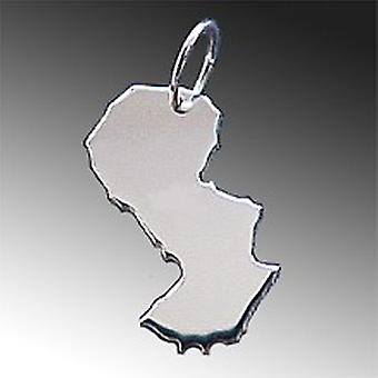 Trailer map PARAGUAY pendant in solid 925 Silver
