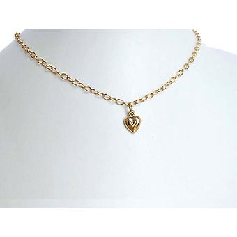 Heart chain heart pendant heart pendant 14 k (585) gold necklace gold plated