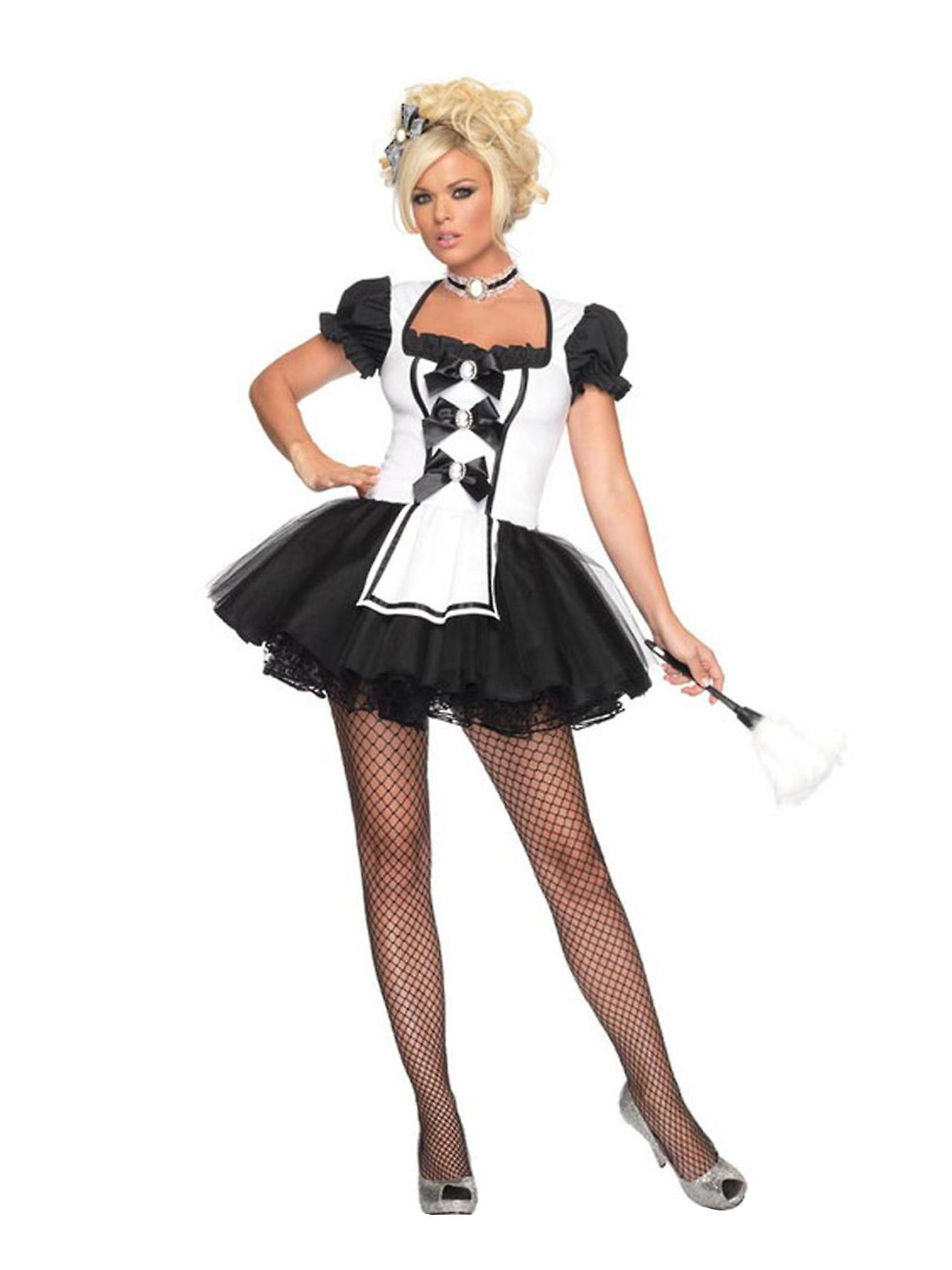 Mistress French Maid Housekeeper Cleaner Room Service Women Costume