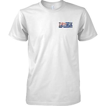 Efecto bandera de Australia Grunge país nombre - hombres pecho diseño camiseta