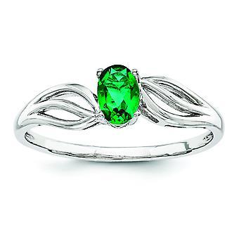 Sterlingsilber polierte offen zurück rhodinierten erstellt Smaragd Ring - Ring-Größe: 5 bis 10