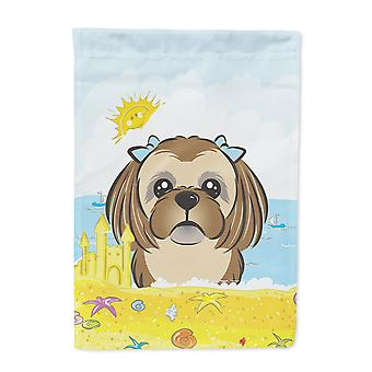Chocolate Brown Shih Tzu Summer Beach Flag Garden Size