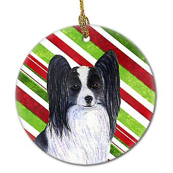 Papillon Candy Cane Holiday Christmas keramiske Ornament SS4574