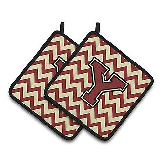 Letter Y Chevron Maroon and Gold Pair of Pot Holders