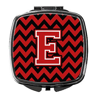 Carolines Treasures  CJ1047-ESCM Letter E Chevron Black and Red   Compact Mirror
