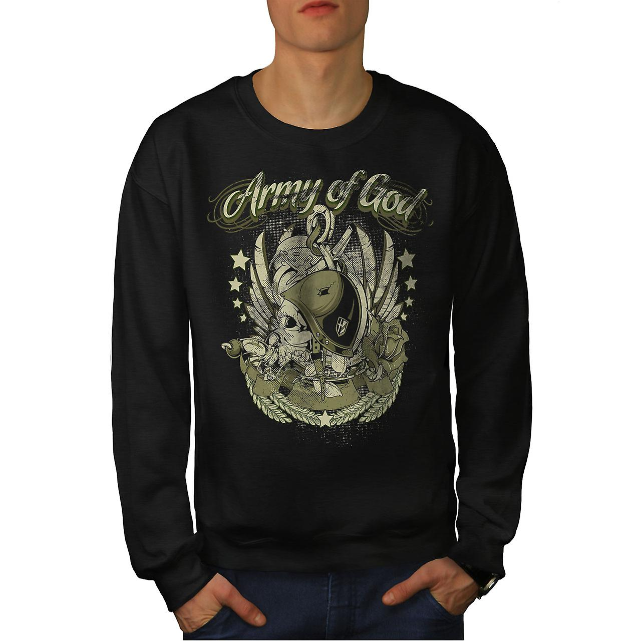 Army Of God Pilot Skull Men BlackSweatshirt | Wellcoda