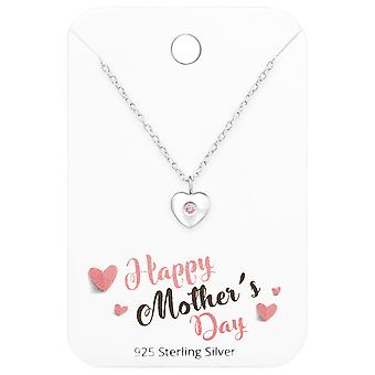 Heart Necklace On Happy Mother's Day Card - 925 Sterling Silver Sets - W35917x