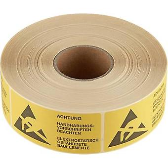 ESD warning sign 1000 pc(s) Yellow, Black (L x W) 75 mm x 36 mm