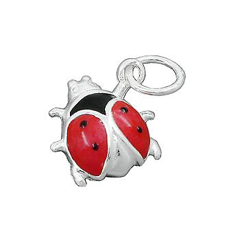 Pendant ladybird red-black silver 925