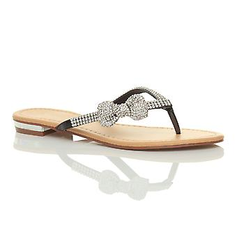 Ajvani womens lage hak vlakke strand bruiloft zomer prom diamante boog flip flop sandalen