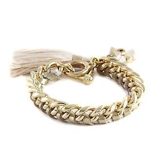Ettika - Yellow Gold Bracelet and braided leather ribbons walleye