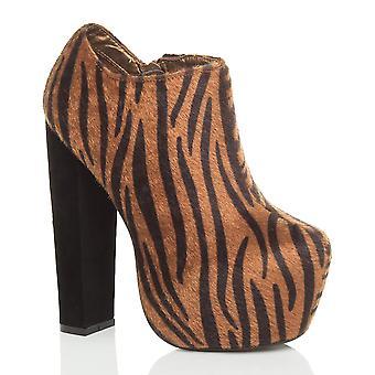 Ajvani dame blokere høj hæl skjult platform zip kile ankel støvler støvletter