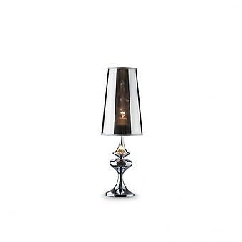 Ideal Lux Alfiere Small Smoked Finish Table Lamp With Plastic Shade