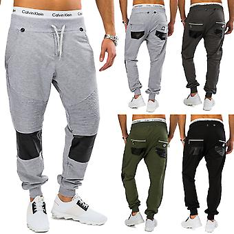 Men sweatpants with suspenders Harem style leather patches trend leisure trousers