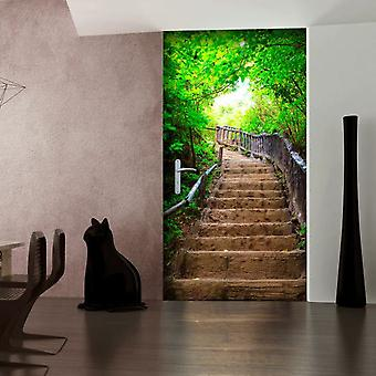 Wellindal Photo wallpaper on the door stairs from nature (Decoration , Vinyls)