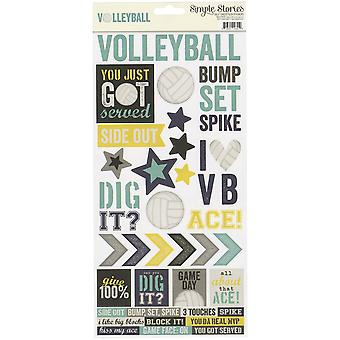 Simple Sets Volleyball Cardstock Stickers 6