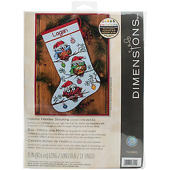 Holiday Hooties Stocking Counted Cross Stitch Kit-16