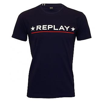 Replay Star Logo T-Shirt, Navy