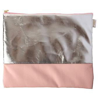Pink & Silver Large Zip Top Pouch