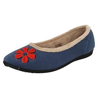 Ladies Padders Wide Fitting Ballerina Slippers Happy