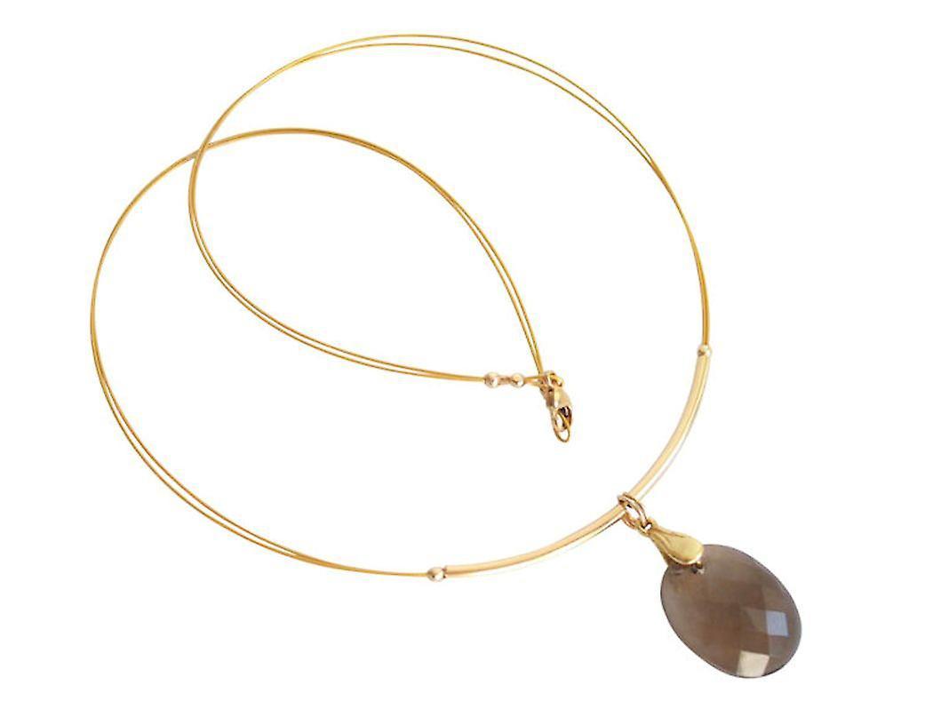 Gemshine - femmes - Halskette  - Anhänger - Veroret - Rauchquarz - Facetcravatert - marron - 45 cm