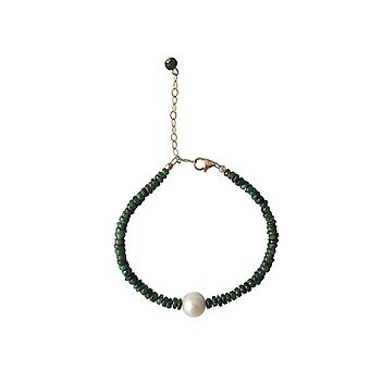 Emerald bracelet with Pearl Emerald pearl bracelet gold plated