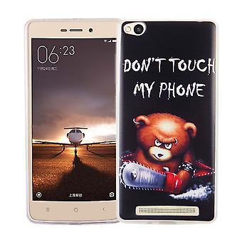 Mobiele case voor de Xiaomi Redmi 3 cover case beschermende zak motief slim TPU + armor bescherming glas 9 H logo Beer met kettingzaag