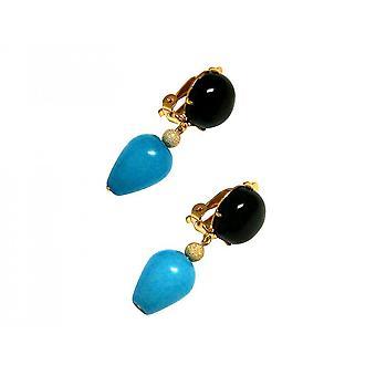 Ohrringe – Ohrclips - Vergoldet  – Onyx – Jade – Schwarz – Blau – 3,5 cm
