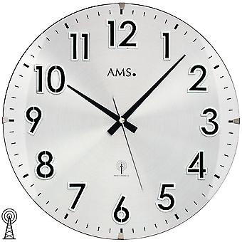AMS 5973 wall clock radio radio controlled wall clock analog round with metal dial and glass