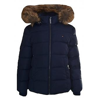 Tommy Hilfiger Girls Navy Blue Faux Fur Trim Hooded Jacket