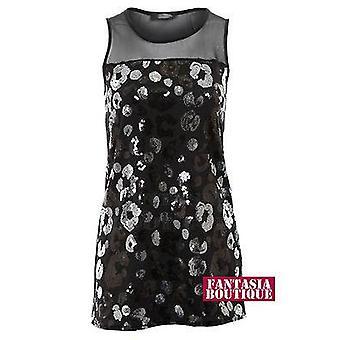 2158 Ladies Black Mesh Sleeveless Sequin Gathered Plain Back Long Women's Vest Top