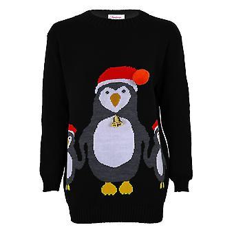 Ladies Christmas XMAS Festive 3D Bell Hat Women's Knitted Penguin Jumper