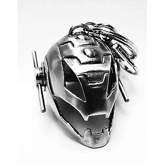 Marvel Keychain Ultron helmet silver, made of metal, with mini carabiner.