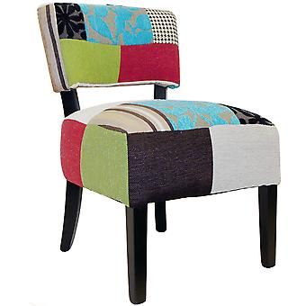 Plush Patchwork - Square Back Padded Chair With Wood Legs - Blue / Green