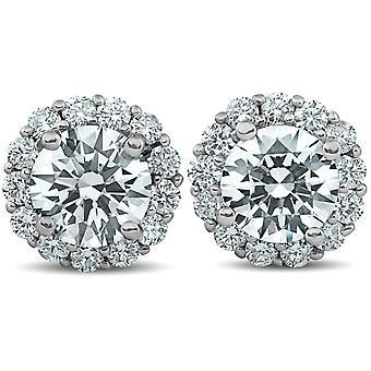 2 1/5 Ct Halo Diamond Studs 14k White Gold 10mm