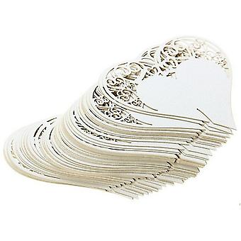 TRIXES 50PC Wine Glass Edge Heart Cards Wedding Name Place Number Shimmer Laser Cut