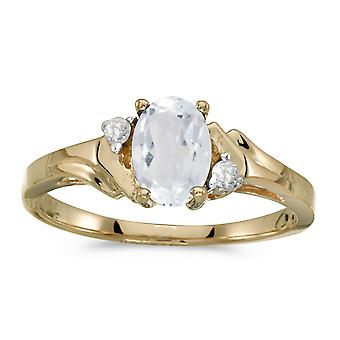 10k Yellow Gold ovaal wit Topaz And Diamond Ring